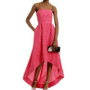 Monique Lhuillier red high low ball gown 2